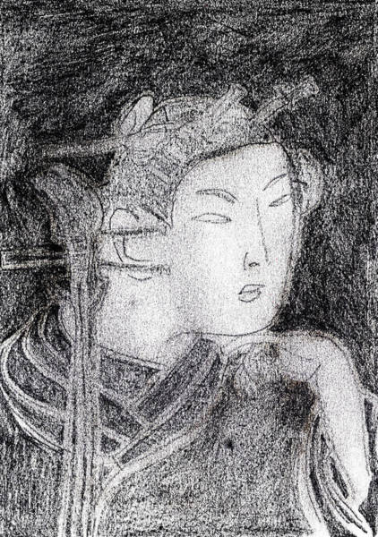 Drawing - Japanese Print Pencil Drawing 7 by Artist Dot