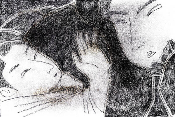 Drawing - Japanese Print Pencil Drawing 8 by Artist Dot