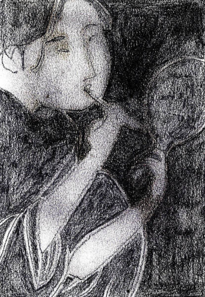 Drawing - Japanese Print Pencil Drawing 9 by Artist Dot