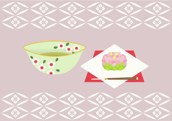 Object Digital Art - Japanese Tea And Sweets, Painting by Daj