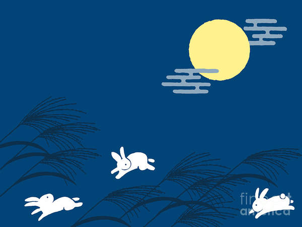 Event Wall Art - Digital Art - Japanese Traditional Full Moon Night by Perori