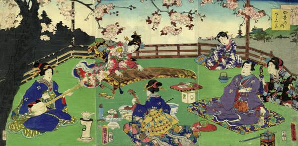 Harp Digital Art - Japanese Triptych Woodblock Cherry by Bernardallum