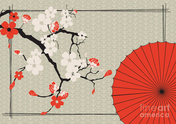 Wall Art - Digital Art - Japanese Umbrella And Japanese Cherry - by Artbox
