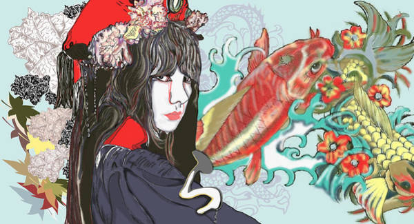 Wall Art - Painting - Japanese Women With Koi  by Marshal James