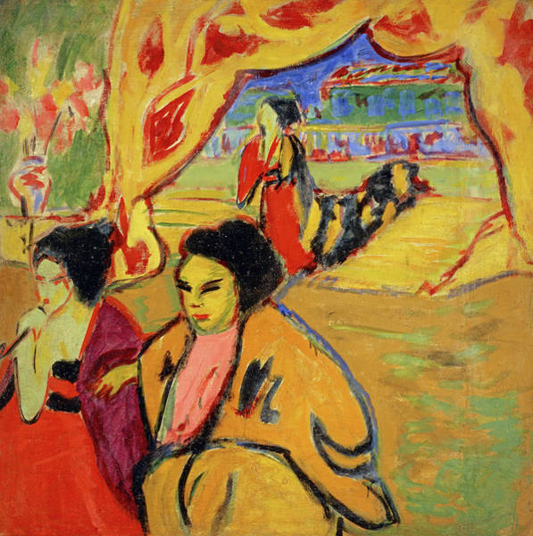 Bar Scene Painting - Japanisches Theater  by Ernst Ludwig Kirchner