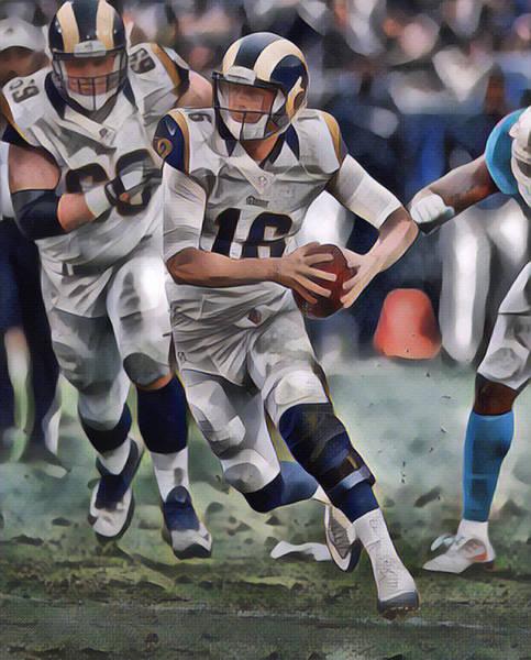 Jared Wall Art - Mixed Media - Jared Goff Los Angeles Rams Abstract Art 2 by Joe Hamilton