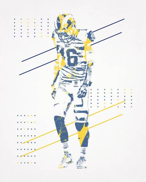 Jared Wall Art - Mixed Media - Jared Goff Los Angeles Rams Pixel Art 100 by Joe Hamilton
