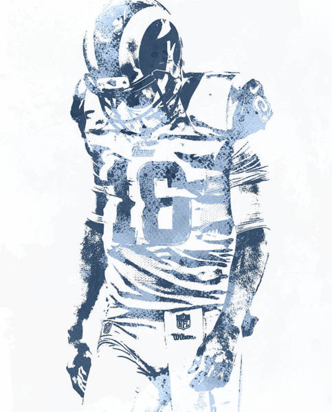 Jared Wall Art - Mixed Media - Jared Goff Los Angeles Rams Water Color Pixel Art 30 by Joe Hamilton
