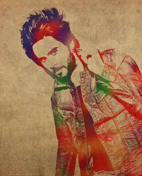 Jared Wall Art - Mixed Media - Jared Leto Watercolor Portrait by Design Turnpike