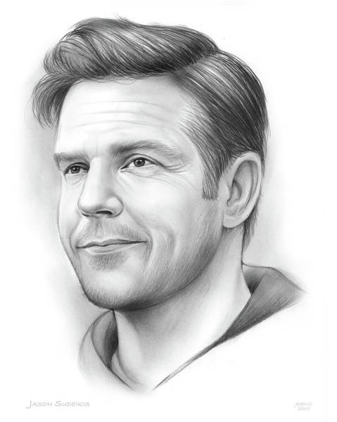 Jason Wall Art - Drawing - Jason Sudeikis by Greg Joens