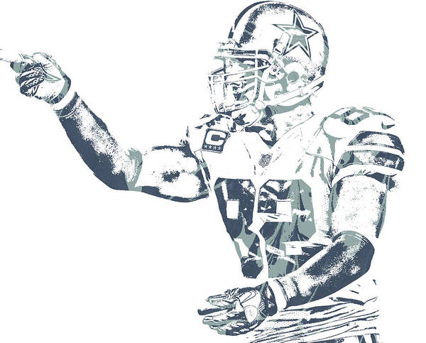 Wall Art - Mixed Media - Jason Witten Dallas Cowboys Pixel Art 75 by Joe Hamilton