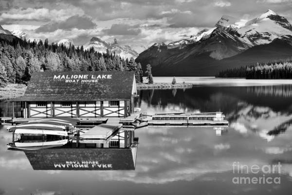 Photograph - Jasper Boathouse Reflections Black And White by Adam Jewell