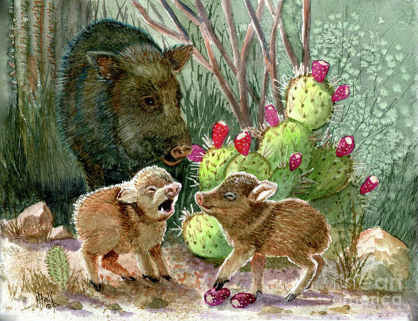 Smith Rock Painting - Javelina Babies And Mom by Marilyn Smith