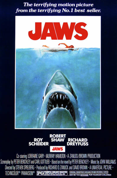 Photograph - Jaws Movie Poster  by Doc Braham