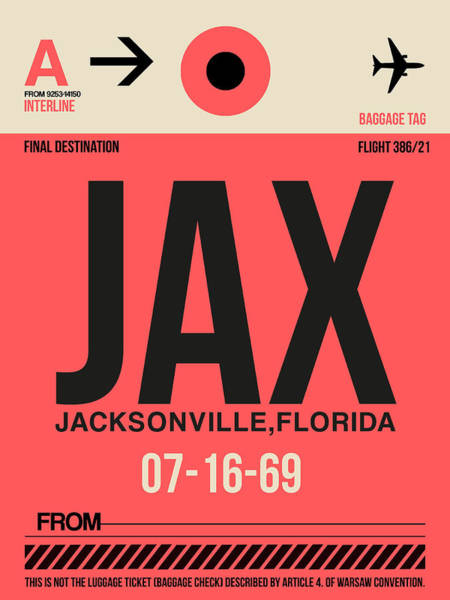 Wall Art - Digital Art - Jax Jacksonville Luggage Tag I by Naxart Studio