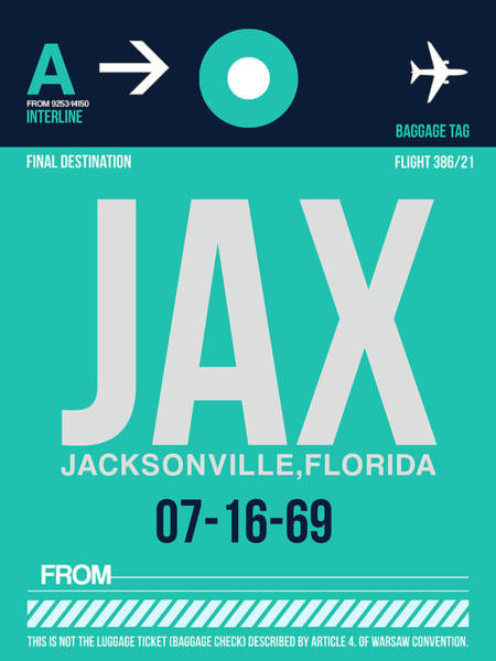 South Florida Wall Art - Digital Art - Jax Jacksonville Luggage Tag II by Naxart Studio