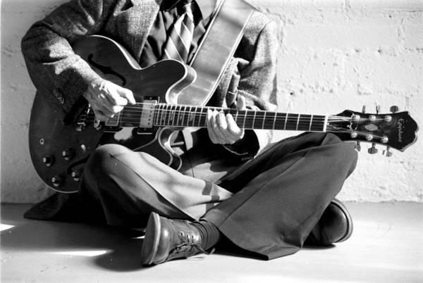 Chord Wall Art - Photograph - Jazz Guitarist Black And White Portrait by Jim Steinfeldt