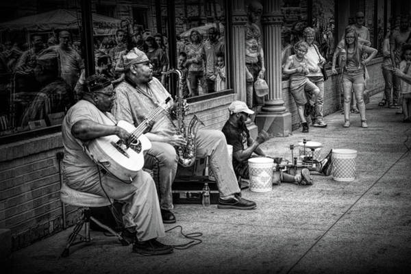 Photograph - Jazz Musician Street Buskers In Infrared Black And White by Randall Nyhof