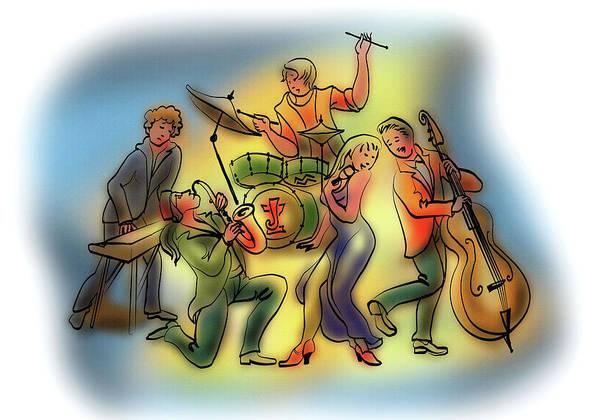 Jazz Trio Digital Art - Jazz Quartet And A Singer by Yuri Karminsky