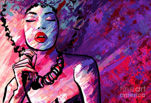 Wall Art - Digital Art - Jazz Singer With Microphone On Grunge by Isaxar