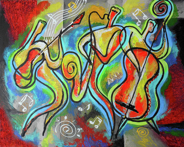 Wall Art - Painting - Jazz-swing by Leon Zernitsky