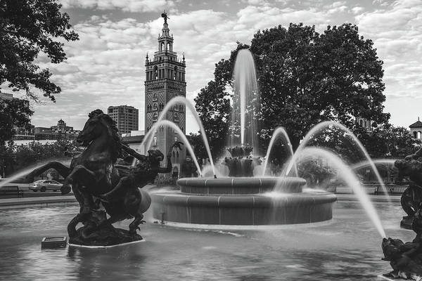 Country Club Plaza Photograph - Jc Nichols Black And White Fountain Waters by Gregory Ballos