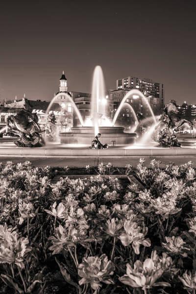 Country Club Plaza Photograph - J.c. Nichols Fountain Flowers - Kansas City Sepia by Gregory Ballos