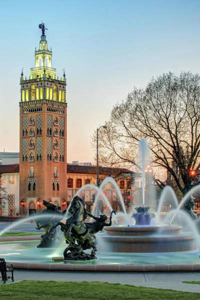 Country Club Plaza Photograph - Jc Nichols Fountain Plaza At Dusk - Kansas City by Gregory Ballos