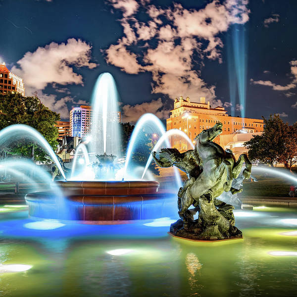 Photograph - Jc Nichols Memorial Fountain Lights by Gregory Ballos