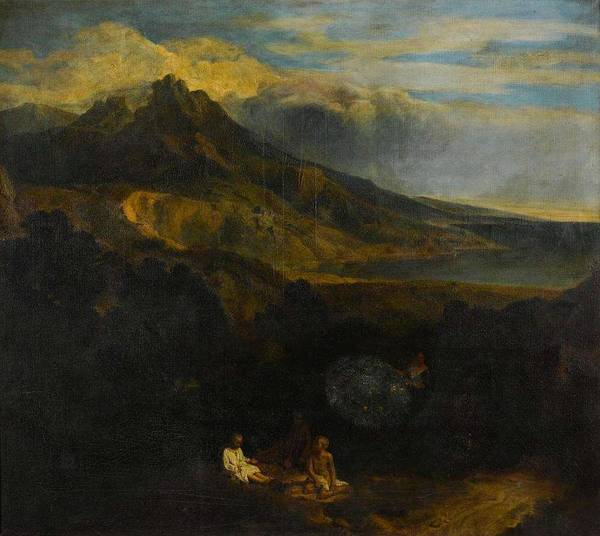 Wall Art - Painting - Jean Francois Millet Called Francisque  Figures Resting In An Italianate Landscape, With Mountains A by Jean Francois Millet