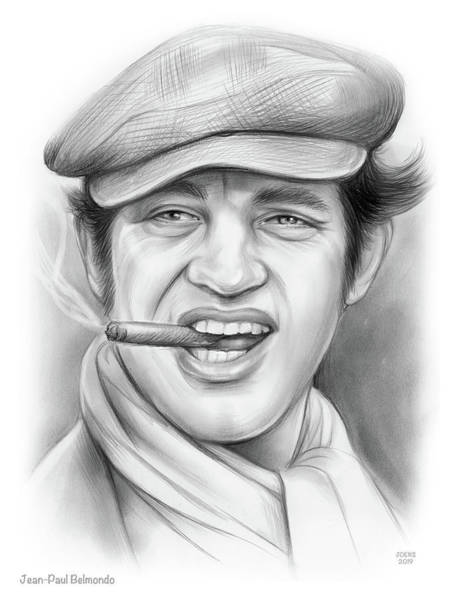 Wall Art - Drawing - Jean-paul Belmondo by Greg Joens