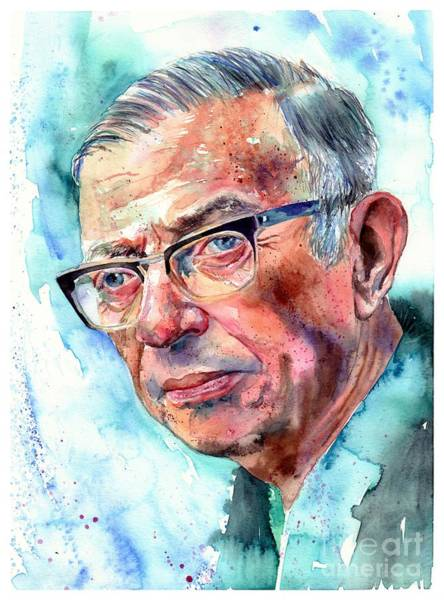 Philosopher Wall Art - Painting - Jean-paul Sartre Portrait by Suzann's Art