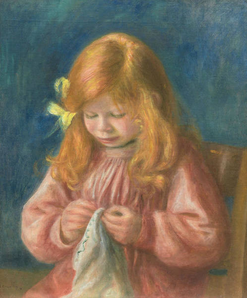 Painting - Jean Renoir Sewing by Auguste Renoir