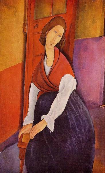 Wall Art - Painting - Jeanne Hebuterne Also Known As In Front Of A Door - 1919 by Modigliani Amedeo
