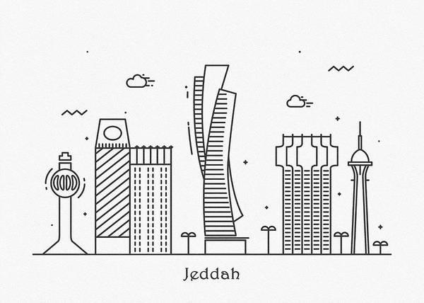 Landmark Center Drawing - Jeddah Cityscape Travel Poster by Inspirowl Design