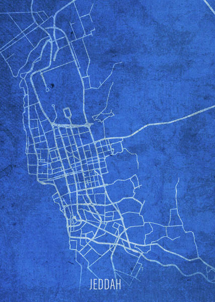 Wall Art - Mixed Media - Jeddah Saudi Arabia City Street Map Blueprints by Design Turnpike