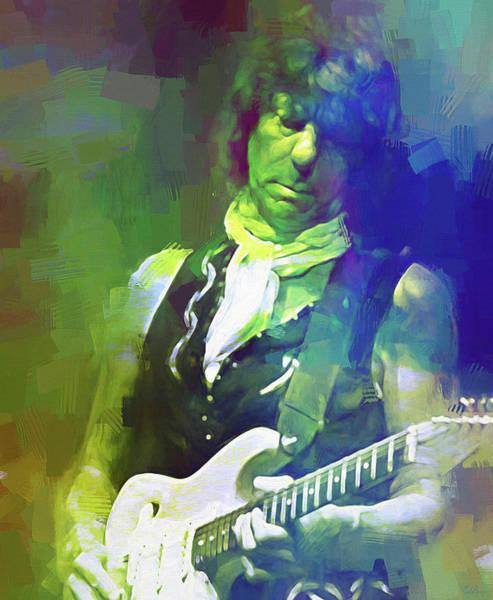 Yardbird Wall Art - Mixed Media - Jeff Beck, Love Is Green by Mal Bray