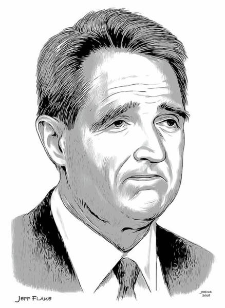Wall Art - Drawing - Jeff Flake 2 by Greg Joens