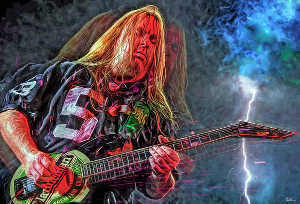 Thrash Metal Wall Art - Mixed Media - Jeff Hanneman by Mal Bray