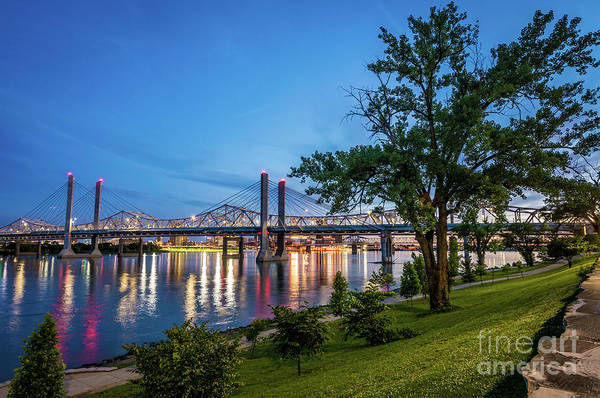 Photograph - Jeffersonville Indiana Waterfront At Night  by Gary Whitton