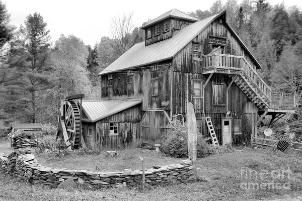 Photograph - Jeffersonville Vermont Grist Mill Black And White by Adam Jewell