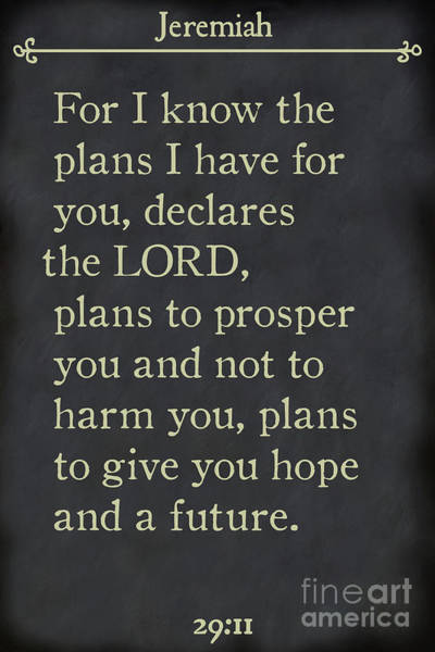 Painting - Jeremiah 29 11 - Inspirational Quotes Wall Art Collection by Mark Lawrence