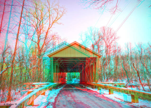 Kingsville Photograph - Jericho Covered Bridge 3d Anaglyph by Brian Wallace