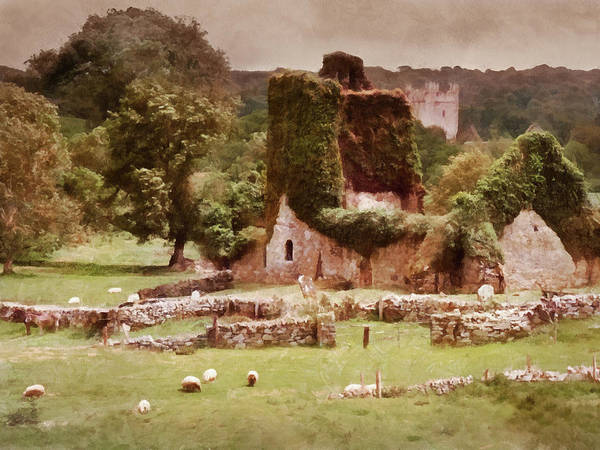Painting - Jerpoint Park - Irish Landscape With Ruins by Menega Sabidussi