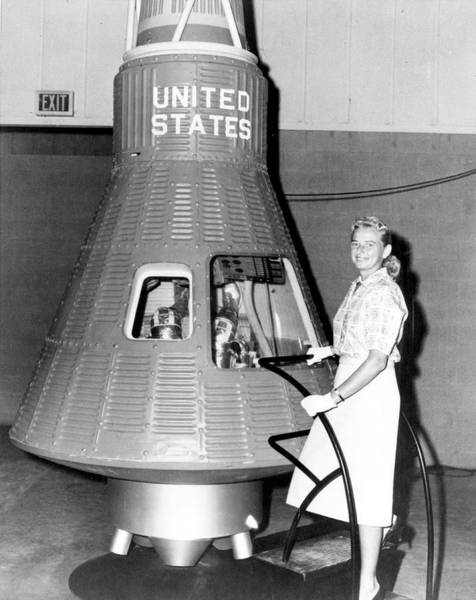 Wall Art - Photograph - Jerrie Cobb Poses With Mercury Capsule by Science Source