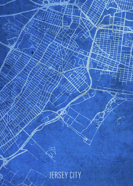 Wall Art - Mixed Media - Jersey City New Jersey City Street Map Blueprints by Design Turnpike
