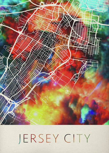 New Jersey Mixed Media - Jersey City New Jersey Watercolor City Street Map by Design Turnpike