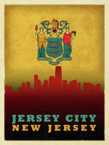 New Jersey Mixed Media - Jersey City Skyline State Flag Of New Jersey by Design Turnpike