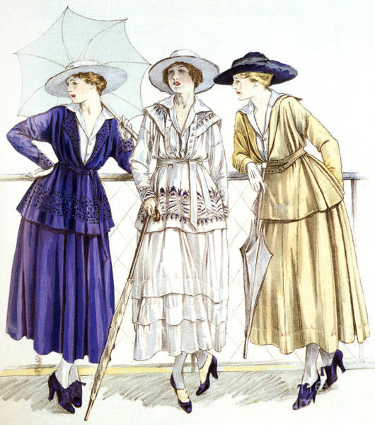 Wall Art - Drawing - Jersey Suit, Models By Gabrielle Chanel Published In Magazine Les Elegances Parisiennes, March 1917 by French School