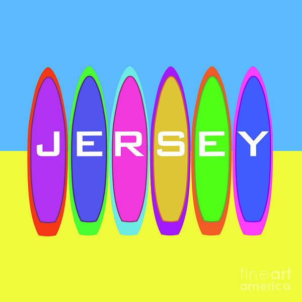 Digital Art - Jersey Text On Surfboards by Barefoot Bodeez Art